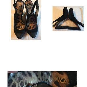 Sam Edelman Sparkly Black Heeled Sandals Sz 7.5
